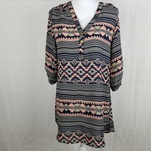 Rue21 Aztec print roll up sleeves tunic size M